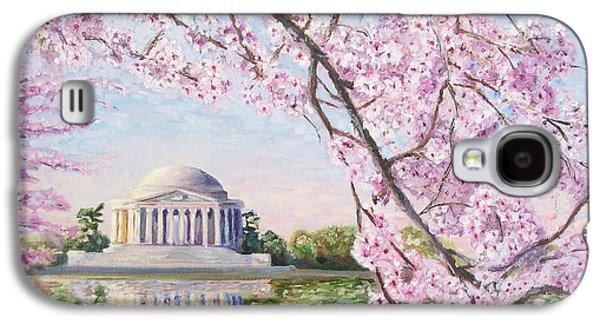 Cherry Blossoms Galaxy S4 Cases - Jefferson Memorial Cherry Blossoms Galaxy S4 Case by Patty Kay Hall