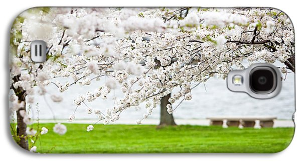 Cherry Blossoms Photographs Galaxy S4 Cases - Cherry blossoms on the shore of Fort McHenry Galaxy S4 Case by Susan  Schmitz