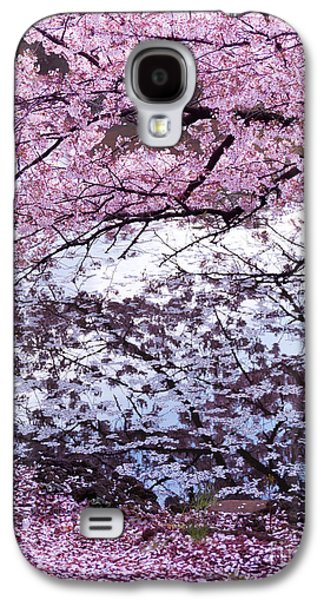 Garden Scene Galaxy S4 Cases - Cherry tree branches with pink blossom touching water Galaxy S4 Case by Oleksiy Maksymenko