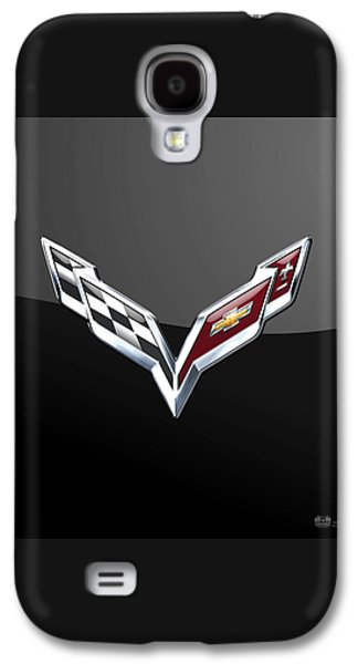 Crest Digital Art Galaxy S4 Cases - Chevrolet Corvette - 3D Badge on Black Galaxy S4 Case by Serge Averbukh