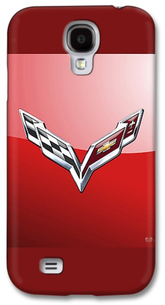 Crest Digital Art Galaxy S4 Cases - Chevrolet Corvette - 3D Badge on Red Galaxy S4 Case by Serge Averbukh