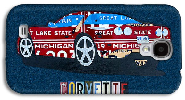 Industrial Mixed Media Galaxy S4 Cases - Chevrolet Corvette Recycled Michigan License Plate Art Galaxy S4 Case by Design Turnpike