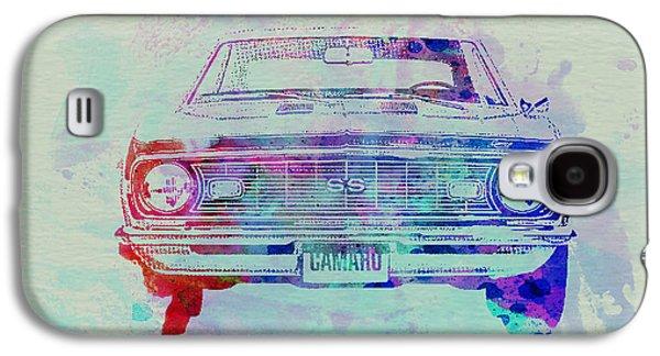 Watercolor Drawings Galaxy S4 Cases - Chevy Camaro Watercolor 2 Galaxy S4 Case by Naxart Studio