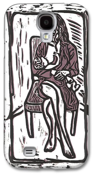 Linocut Galaxy S4 Cases - Chey and Lucca Nursing Galaxy S4 Case by Kevin Houchin