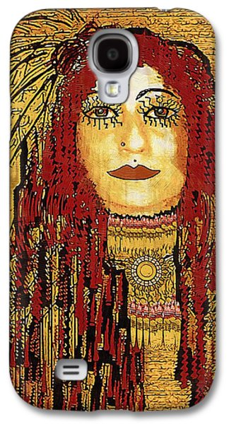 Brave Mixed Media Galaxy S4 Cases - Cheyenne Woman Warrior Galaxy S4 Case by Pepita Selles
