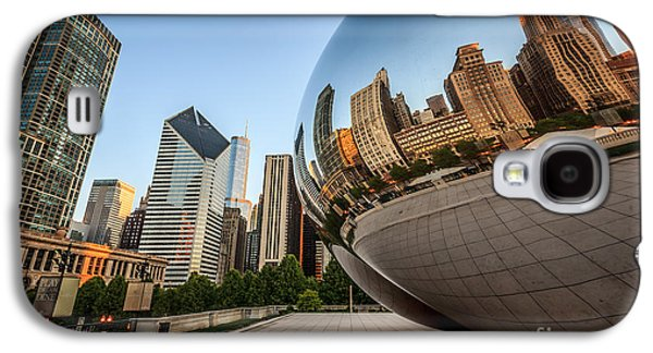 Stone Buildings Galaxy S4 Cases - Chicago Bean Cloud Gate Sculpture Reflection Galaxy S4 Case by Paul Velgos