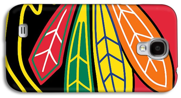 Design Paintings Galaxy S4 Cases - Chicago Blackhawks Galaxy S4 Case by Tony Rubino