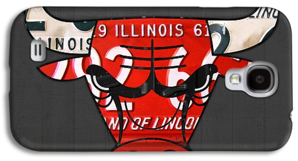 Chicago Bulls Galaxy S4 Cases - Chicago Bulls Basketball Team Retro Logo Vintage Recycled Illinois License Plate Art Galaxy S4 Case by Design Turnpike