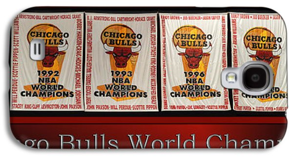 Pippen Galaxy S4 Cases - Chicago Bulls World Champions Banners Galaxy S4 Case by Thomas Woolworth
