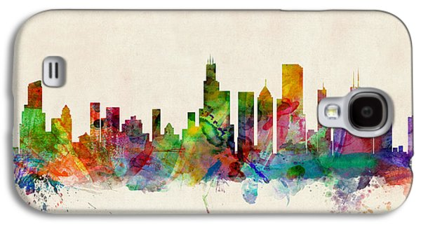 Skyline Digital Art Galaxy S4 Cases - Chicago City Skyline Galaxy S4 Case by Michael Tompsett