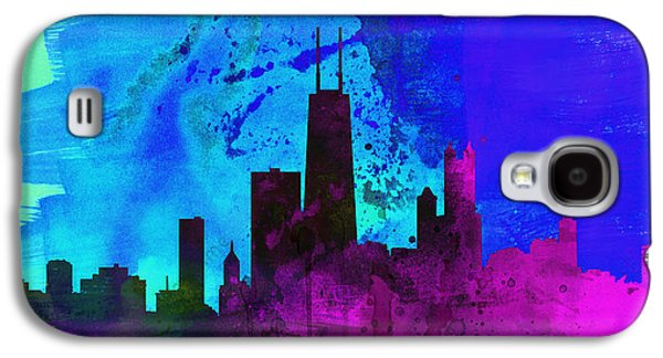 Usa Paintings Galaxy S4 Cases - Chicago City Skyline Galaxy S4 Case by Naxart Studio