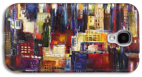 Chicago Paintings Galaxy S4 Cases - Chicago City View Galaxy S4 Case by Kathleen Patrick