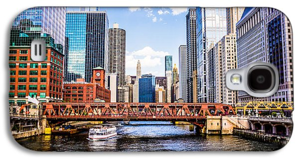 Chicago Cityscape At Wells Street Bridge Galaxy S4 Case by Paul Velgos