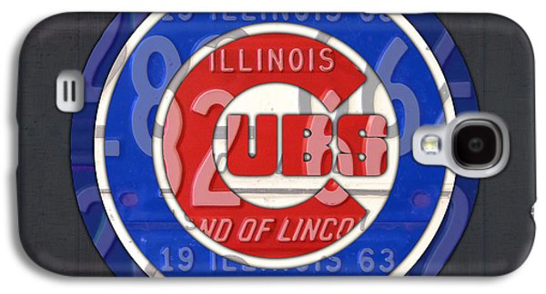 Chicago Cubs Baseball Team Retro Vintage Logo License Plate Art Galaxy S4 Case by Design Turnpike