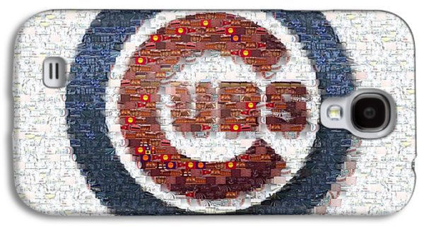 Chicago Cubs Galaxy S4 Cases - Chicago Cubs Mosaic Galaxy S4 Case by David Bearden
