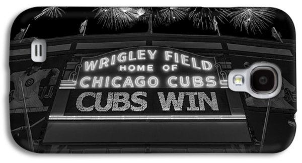 Chicago Cubs Galaxy S4 Cases - Chicago Cubs Win Fireworks Night B W Galaxy S4 Case by Steve Gadomski