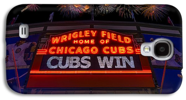 Chicago Cubs Galaxy S4 Cases - Chicago Cubs Win Fireworks Night Galaxy S4 Case by Steve Gadomski