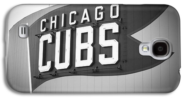 Chicago Galaxy S4 Cases - Chicago Cubs Wrigley Field Sign Black and White Picture Galaxy S4 Case by Paul Velgos