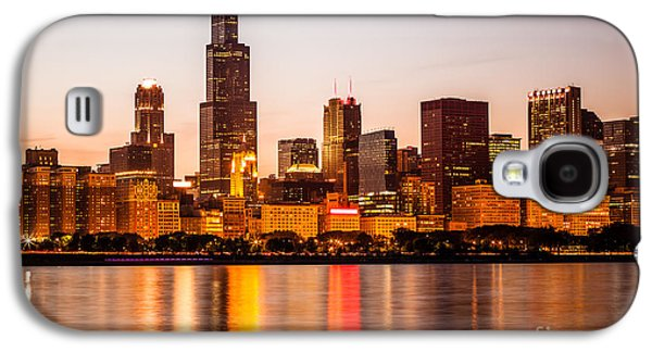 Willis Tower Galaxy S4 Cases - Chicago Downtown City Lakefront with Willis-Sears Tower Galaxy S4 Case by Paul Velgos