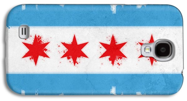 Skylines Mixed Media Galaxy S4 Cases - Chicago Flag Galaxy S4 Case by Mike Maher