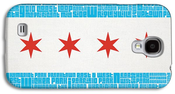 Sports Mixed Media Galaxy S4 Cases - Chicago Flag Neighborhoods Galaxy S4 Case by Mike Maher