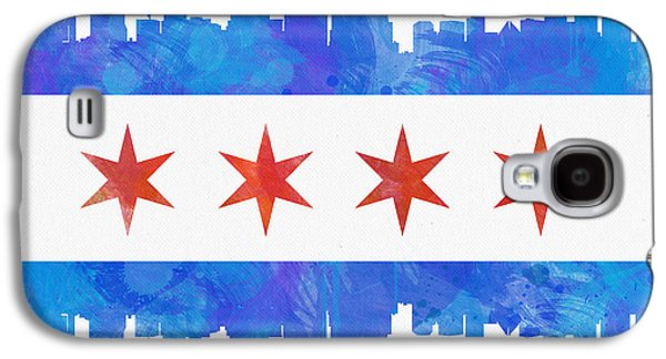 North America Galaxy S4 Cases - Chicago Flag Watercolor Galaxy S4 Case by Mike Maher