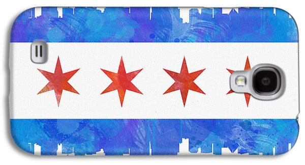 Architecture Mixed Media Galaxy S4 Cases - Chicago Flag Watercolor Galaxy S4 Case by Mike Maher
