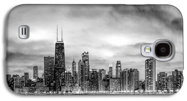 Skylines Paintings Galaxy S4 Cases - Chicago Gotham City Skyline Black and White Panorama Galaxy S4 Case by Christopher Arndt