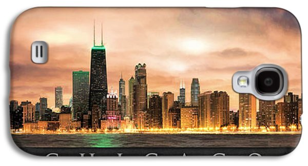 Skylines Paintings Galaxy S4 Cases - Chicago Gotham City Skyline Panorama Poster Galaxy S4 Case by Christopher Arndt