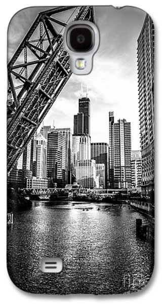 Urban Street Galaxy S4 Cases - Chicago Kinzie Street Bridge Black and White Picture Galaxy S4 Case by Paul Velgos