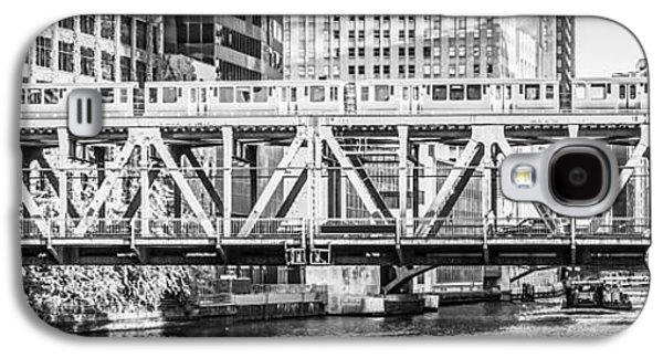 Chicago Lake Street Bridge L Train Black And White Picture Galaxy S4 Case by Paul Velgos
