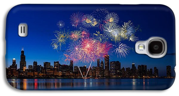 Independence Day Galaxy S4 Cases - Chicago Lakefront Fireworks Galaxy S4 Case by Steve Gadomski