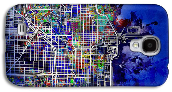 Illinois Print Digital Art Galaxy S4 Cases - Chicago Map Blue Version Galaxy S4 Case by MB Art factory