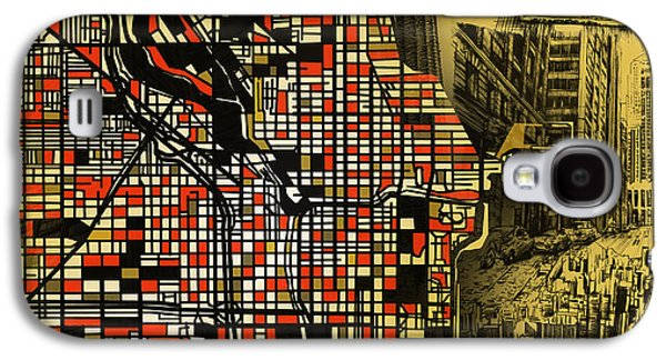 Illinois Print Digital Art Galaxy S4 Cases - Chicago Map Drawing Collage 2 Galaxy S4 Case by MB Art factory