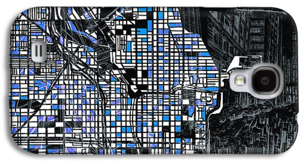 Illinois Print Digital Art Galaxy S4 Cases - Chicago Map Drawing Collage 3 Galaxy S4 Case by MB Art factory