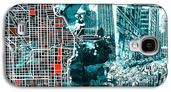 Illinois Print Digital Art Galaxy S4 Cases - Chicago Map Drawing Collage Galaxy S4 Case by MB Art factory