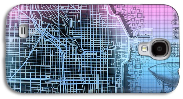 Illinois Print Digital Art Galaxy S4 Cases - Chicago Map Gradient 2 Galaxy S4 Case by MB Art factory