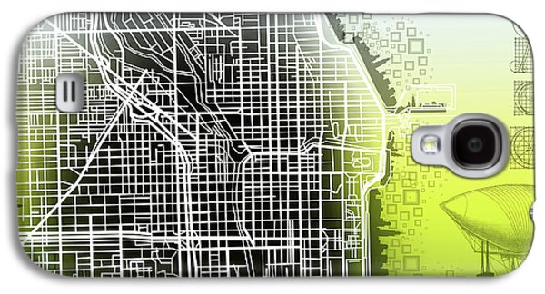 Illinois Print Digital Art Galaxy S4 Cases - Chicago Map Gradient Galaxy S4 Case by MB Art factory