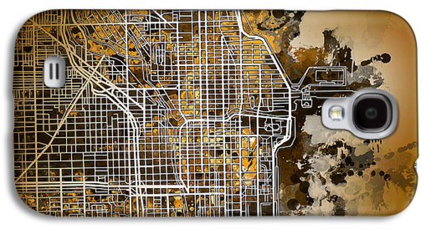 Illinois Print Digital Art Galaxy S4 Cases - Chicago Map Orange Version Galaxy S4 Case by MB Art factory