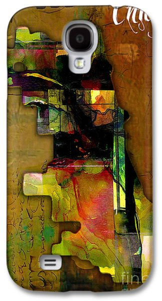 Chicago Galaxy S4 Cases - Chicago Map Watercolor Galaxy S4 Case by Marvin Blaine