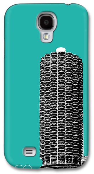 Mid-century Modern Decor Digital Galaxy S4 Cases - Chicago Skyline Marina Towers - Teal Galaxy S4 Case by DB Artist