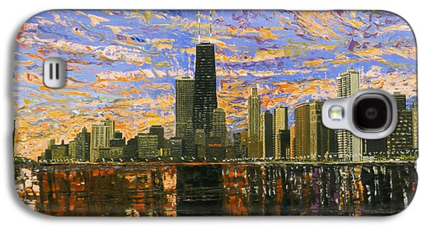 Skylines Paintings Galaxy S4 Cases - Chicago Galaxy S4 Case by Mike Rabe