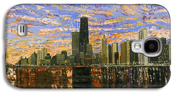Chicago Paintings Galaxy S4 Cases - Chicago Galaxy S4 Case by Mike Rabe
