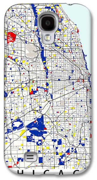 Abstracted Galaxy S4 Cases - Chicago Piet Mondrian Style City Street Map Art Galaxy S4 Case by Celestial Images