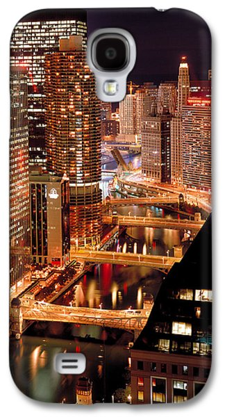 Chicago River Galaxy S4 Cases - Chicago River at Night Galaxy S4 Case by Thomas Firak