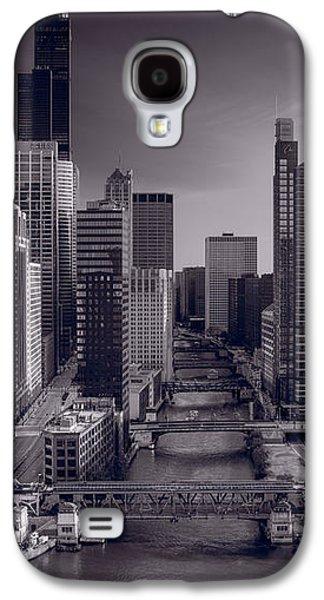 Willis Tower Galaxy S4 Cases - Chicago River Bridges South BW Galaxy S4 Case by Steve Gadomski