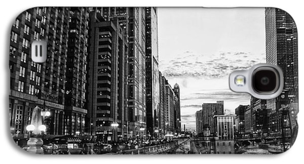 Lamp Post Mixed Media Galaxy S4 Cases - Chicago River HDR BW Galaxy S4 Case by Thomas Woolworth