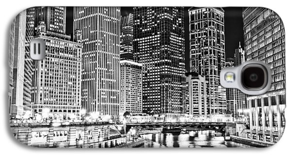Chicago River Skyline At Night Black And White Picture Galaxy S4 Case by Paul Velgos