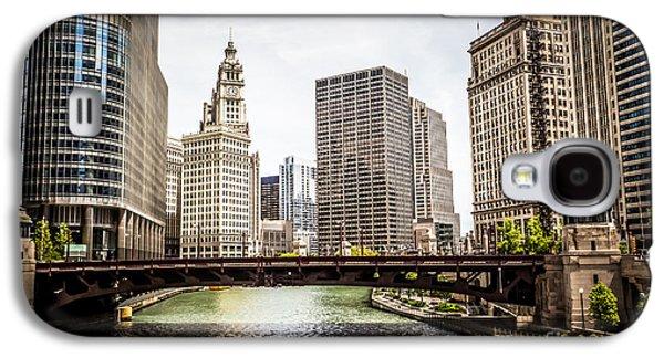 Wrigley Galaxy S4 Cases - Chicago River Skyline at Wabash Avenue Bridge Galaxy S4 Case by Paul Velgos