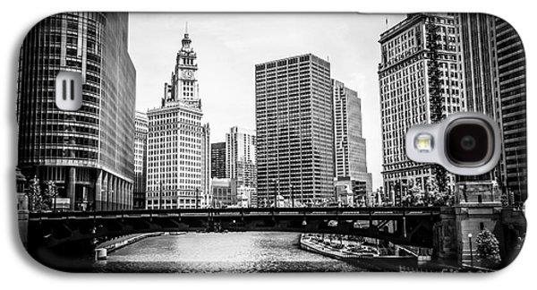 Wrigley Galaxy S4 Cases - Chicago River Skyline in Black and White Galaxy S4 Case by Paul Velgos